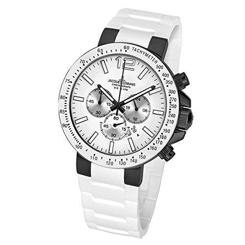 Jacques Lemans Milano 1-1696G Men s Chronograph White Silicone Strap Watch   Amazon.co.uk  Watches 8a549e06c66