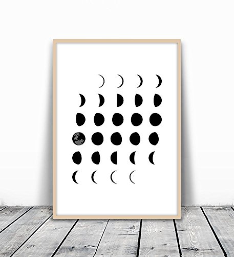 Moon Phases Wall Art, Moon Poster, Moon Phase Art, Moon Phases, Astronomy Poster, Moon