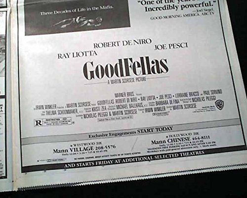Amazon.com: Best GOODFELLAS Mafia Crime Film Movie Opening Day AD Review 1990 L.A. Newspaper LOS ANGELES TIMES, September 19, 1990: Entertainment ...