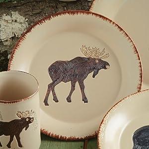 Bear u0026 Moose Stoneware Moose Rustic Dinnerware Salad Plate - Lodge Kitchen Decor & Amazon.com   Bear u0026 Moose Stoneware Moose Rustic Dinnerware Salad ...