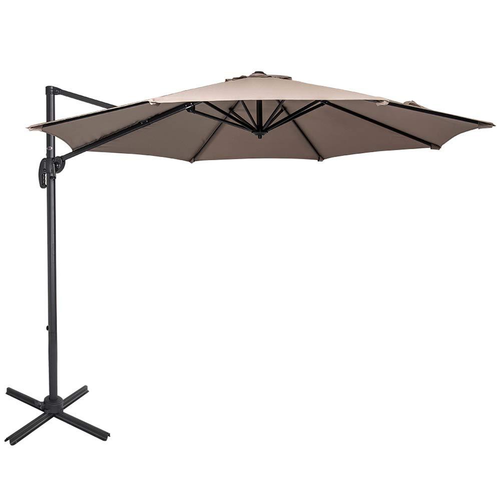 3c3bfcc426779 Sundale Outdoor 10ft Offset Hanging Umbrella Market Patio Umbrella Aluminum  Cantilever Pole with Crank Lift, Corss Frame, Polyester Canopy,  360°Rotation, ...