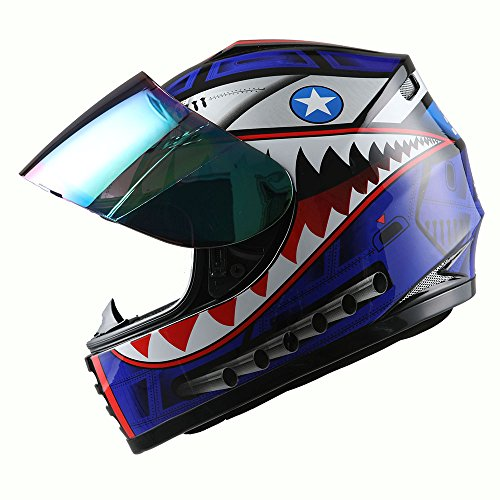 (WOW Motorcycle Full Face Helmet Street Bike BMX MX Youth Kids Shark Blue)
