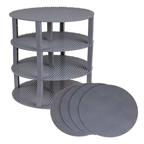 Strictly Briks Classic Stackable 12 Circle Baseplate Brik Tower Building Brick Set   100% Compatible with All Major Brands   4 Base Plates & 30 Stackers   Gray