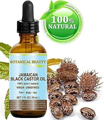 Negro aceite de ricino Jamaica. 100% puro/Natural/Virgin/prensado en frío sin refinar aceite portador. 1 fl. oz.-30 ml. Para la piel, cabello, pestañas, cejas y uñas cuidado.