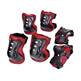 Kid Cycling Roller Skating Knee Elbow Wrist Protective Pads, Black And Red, Suitable for Skateboard, Biking, Mini Bike Riding and Other Extreme Sports
