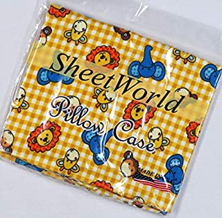 product image for SHEETWORLD.COM Safari Animal Yellow Check Cotton Flannel Baby Pillow Case