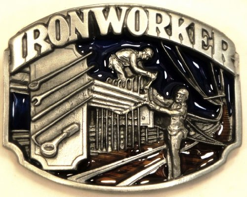 IRON WORKER TRADES OCCUPATION PEWTER BELT BUCKLE