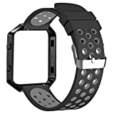 FanTEK Band for Fitbit Blaze, Extra Large Sport Silicone Replacement Adjustable Strap with Silver Frame Work for Fitbit Blaze Smart Fitness Watch, Black and Grey