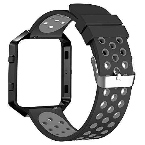 FanTEK Band for Fitbit Blaze, Extra Large Sport Silicone Replacement Adjustable Strap with Silver Frame Work for Fitbit Blaze Smart Fitness Watch, Black and Grey by FanTEK