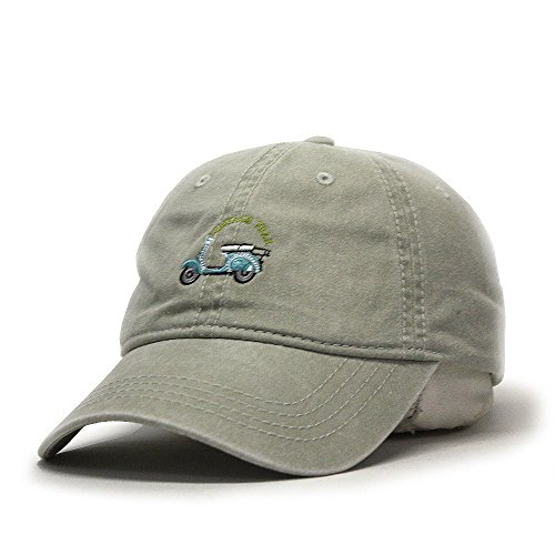 Vintage Washed Dyed Cotton Twill Low Profile Adjustable Baseball Cap (Stone Gray Scooter)