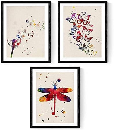Pack de láminas para enmarcar Natura. Posters Estilo Acuarela con imágenes de la Naturaleza. Decoración de hogar. Láminas para enmarcar. Papel 250 Gramos