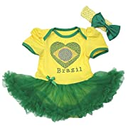 Brazil Heart Yellow Bodysuit Green Tutu Romper Baby Dress Girl Clothing Nb-18m (0-3month)