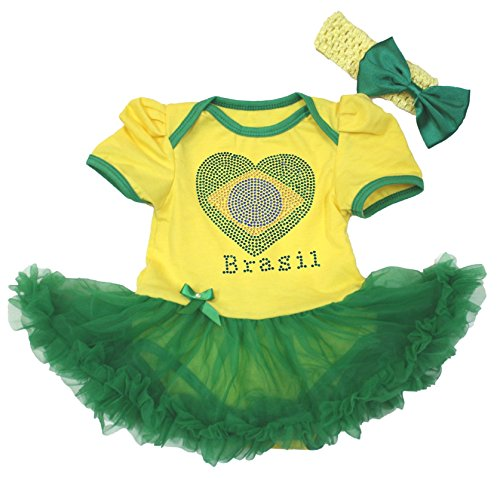 Petitebella Brazil Heart Yellow Bodysuit Green Tutu Baby Dress Nb-18m (12-18month)