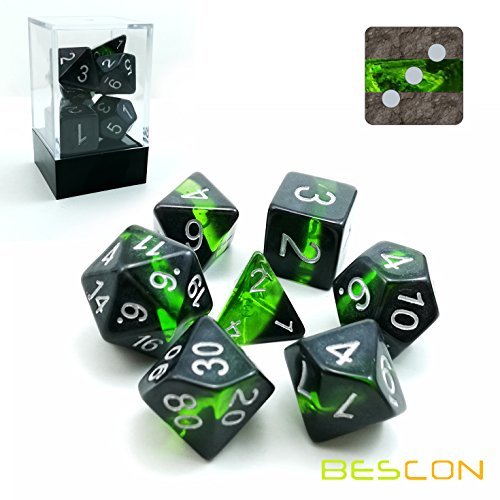 Bescon Mineral Rocks GEM Vines Polyhedral D&D Dice Set of 7, RPG Role Playing Game Dice 7pcs Set of Emerald ()