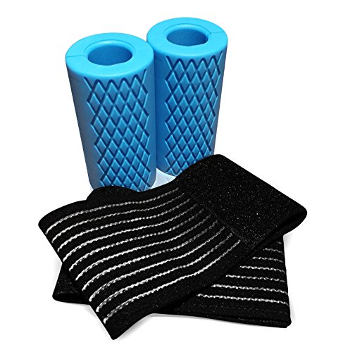 Barbell Bar Grips with Wrist Wraps for Barbell Dumbells By Intralite