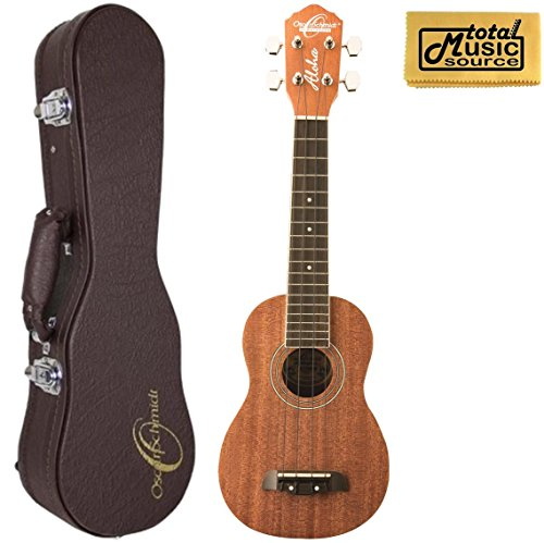Oscar Schmidt Soprano Ukulele w/ Hard Case, All Mahogany, Satin Finish, OU12-UC1