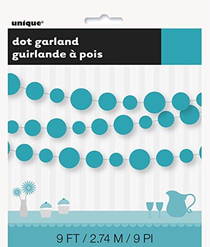 9ft Paper Teal Circle Garland
