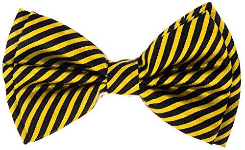 Bowtie - Striped - Yellow & - Black Bow Oversized Tie
