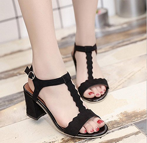 sandalias de tacón alto femeninas con la palabra verano de espesor con zapatos de mujer zapatos abiertos manera de Roma Black