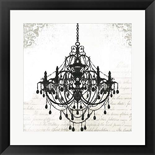 Black Chandelier II by PI Galerie Framed Art Print Wall Picture, Flat Black Frame, 20 x 20 inches
