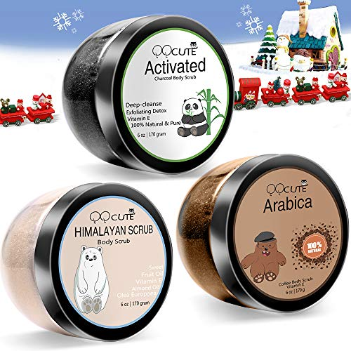 QQCute Himalayan Charcoal Coffee Body Scrub 3 in 1 set 18 oz with Essential Oil All Natural Salt Scrubs to Exfoliate & Moisturize Skin Birthday Gifts for Women Great Gift Set for Girlfriend ()