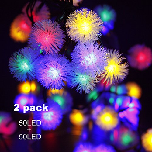 Binval Solar Powered String Lights Chuzzle Ball Fairy Christmas Lighting Decor For Outdoor, Indoor, Garden, Patio, Bedroom Wedding Decorations 50LED (Multi Color)2-Pack (Dazzler Lights Christmas)