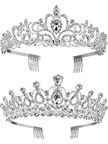 TecUnite 2 Pack Wedding Crown, Crystal Rhinestones Crown Princess Crown with Comb Exquisite Headband (Style 3)