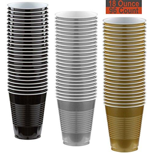 18 oz Party Cups, 96 Count - Black, Silver, Gold - 32 Each Color