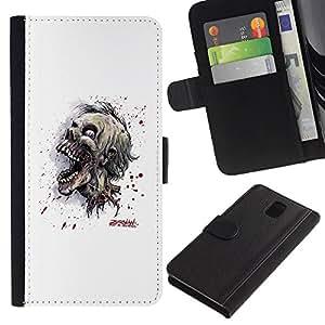 YiPhone /// Tirón de la caja Cartera de cuero con ranuras para tarjetas - Cráneo Zombie Evil - Samsung Galaxy Note 3 III