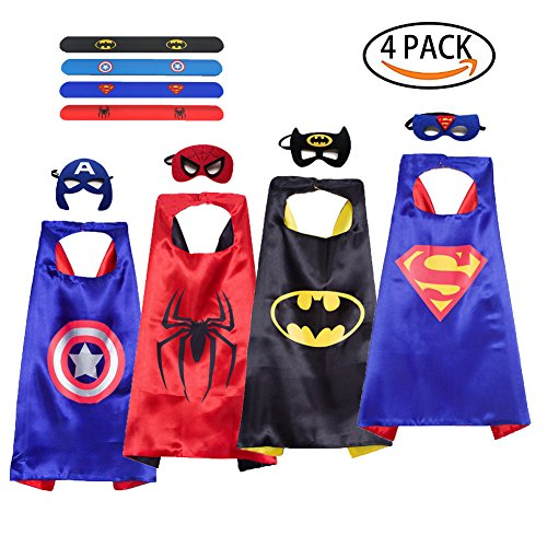 Superhero Dress up Costume, 4 Set Comics Superhero Satin Capes Felt Masks Rubber Slap Bracelet DIY Kids Boys & Girls Cosplay Gift Birthday Party Supplies Favors (4-Pack)