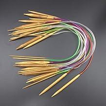 NUOMI Bamboo Circular Knitting Needles Set Crafts Knit Tools Kit Colorful Tube, 2mm-10mm,18 Sizes