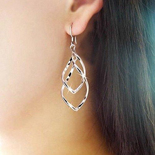 Dangle Wave (Meolin Double Twist Wave Long Drop Dangle Earrings Silver Jewelry for Women)
