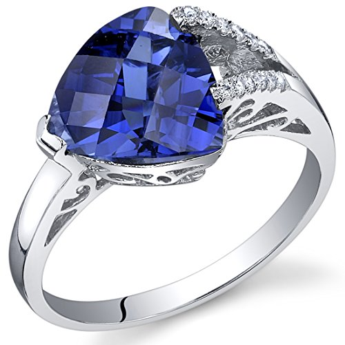 Created Sapphire Ring Sterling Silver Trillion Checkerboard Cut 3.25 Carats Size 7