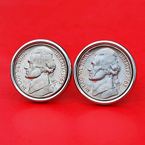 A Pair of US 1963 Jefferson Nickel 5 Cent BU Uncirculated Coin Silver Plated Cufflinks NEW