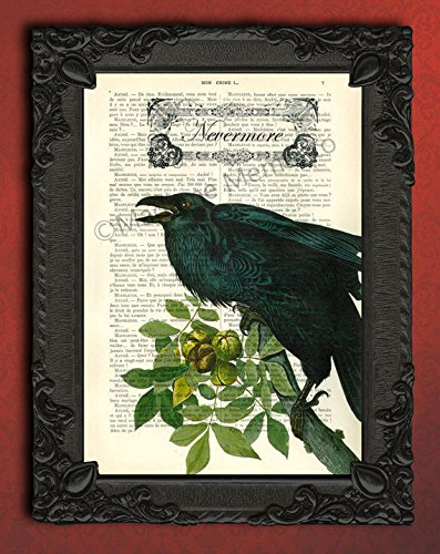 Nevermore Poe artwork, victorian raven art print, black bird decorations poster, crow decor on dictionary page