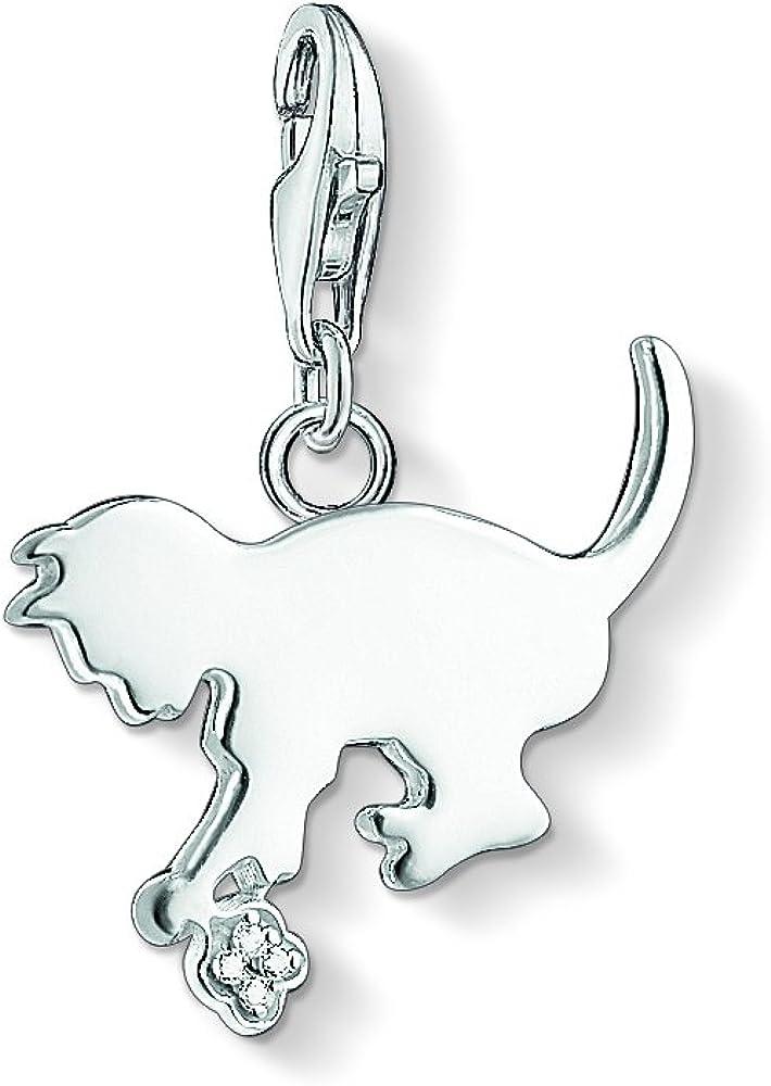 Thomas Sabo DC0025-725-14 - Colgante para mujer (plata de ley 925, diamantes), diseño de gato, color blanco