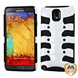 MyBat Hybrid Protector Cover for Samsung N900A - Retail Packaging - Solid Ivory White/Black Ribcage