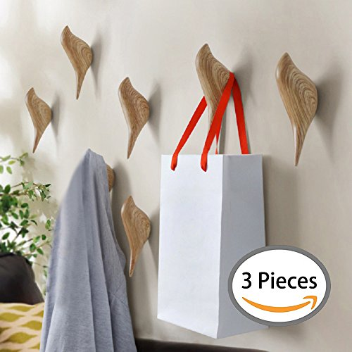 YOHEE 3D Creative Wall Decoration Bird Mural Bedroom Door Hooks Coat Hooks Single Hooks Wall Hanger (Wood - 3 Pcs) (Single Wood Three)