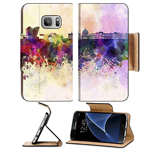 Liili Premium Samsung Galaxy S7 Flip Pu Leather Wallet Case ID: 25743385 Copenhagen skyline in watercolor - I Denmark Glasses
