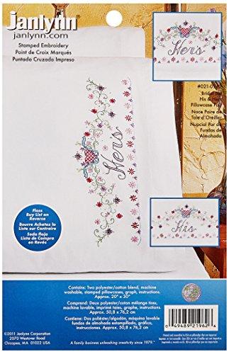 Janlynn Stamped Cross Stitch Kit, His/Hers Bridal Set Pil...