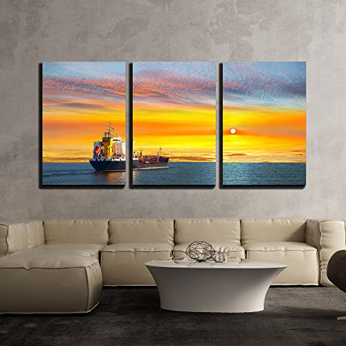 wall26 - 3 Piece Canvas Wall Art - Tanker Ship on Calm Sea in The Morning. - Modern Home Decor Stretched and Framed Ready to Hang - 16