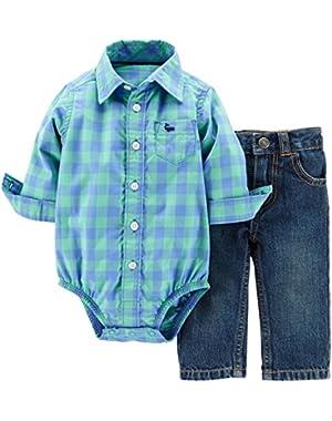 Carters Baby Boy 2-Piece Bodysuit & Denim Pant Set