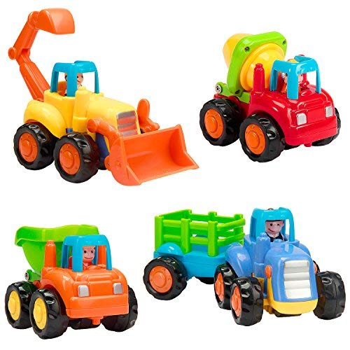 Friction Power Truck - Vamslove Friction Powered Cars, 4 Pcs Kids Toys Cars Set Push and Go Cartoon Construction Vehicles Toys - Early Educational Engineering Gifts Toys for Kids Boys Girls Toddlers Baby 1 2 3 Years Old