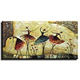 Gincleey Hand Painted Oil Paintings On Canvas, Ballet Dancers Painting Canvas Wall Art Modern Home Decor Framed Artwork Pictures Ready to Hang for Home Office Wall Decor 24'' W x 48'' L