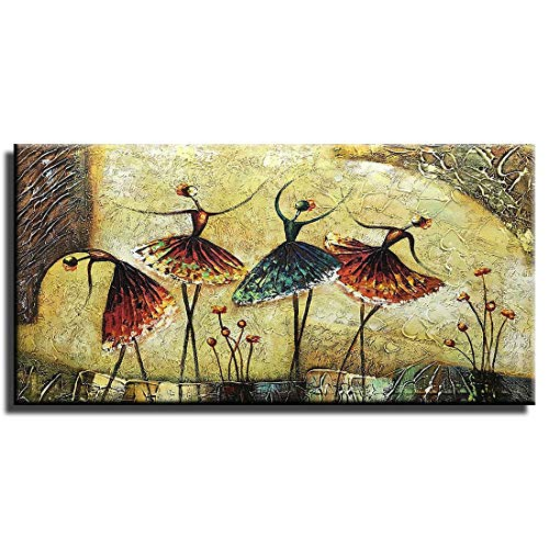 "Gincleey Hand Painted Oil Paintings On Canvas, Textured Ballet Dancer Painting 3D Ballerina Girl Wall Art Modern Decor Large Framed Horizontal Artwork for Bedroom Picture Home Decoration 24""H x 48""W"