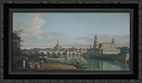 - View of Dresden from The Right Bank of The Elbe with Augustus Bridge 24x16 Black Ornate Wood Framed Canvas Art by Bernardo Bellotto