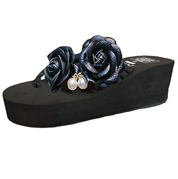 20279339fb411 LGXH Womens Summer Flowers Wedge Flip Flops Slippers Pearls Non-Slip Thick  Platform Boho Beach Sandals