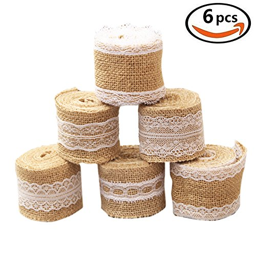 Jelacy 6 Pieces Natural Burlap Lace Craft Ribbon Roll with White Lace Trim Fabric Roll for DIY Handmade Wedding Decorations Lace Linen 78.7 Inch Each