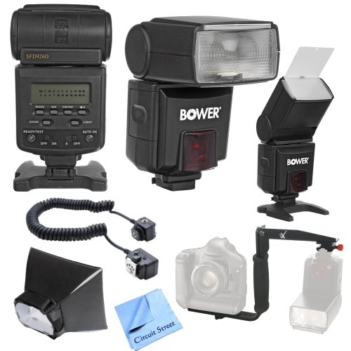 Best Value AF Digital Flash Kit for Nikon D600, D700, D800, D800E Digital SLR Cameras: Includes - Autofocus Dedicated TTL Power Zoom Flash with LCD Back, Wide Flash Diffuser & Flash Stand. Professional Rotating Flash Bracket, Off Camera Flash Cord, Soft Box Diffuser, Bounce Reflector & CS Microfiber Cleaning Cloth