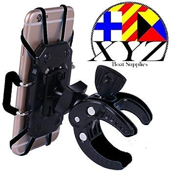 XYZ Boat Supplies® Cell Phone Mount/ Holder for Motorcycle / Bike Handlebars/ Boat, Iphone, Samsung, Smart Phone, Lifetime Warranty (Black)